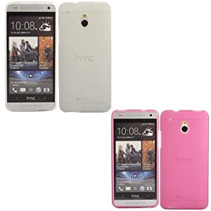 2 Pack Gel Concha Caso Cubrir Para HTC One Mini / Off White And Pink