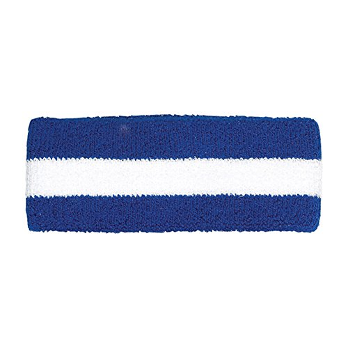 Cotton Terry Cloth Stretchy Stripe Sports Headband - ROYAL ()