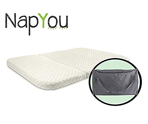 NapYou Amazon Exclusive Pack n Play Mattress, Convenient Fold with Bonus Easy Handle Carry Bag