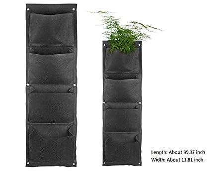 Colgar en la pared maceta, YIFAN vertical), interior de saco de jardín 4 bolsillos de pared planta nueva planta de pared de fibra de poliéster bolsa Negro: ...