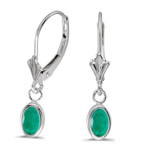 14K White Gold Oval Emerald Bezel Lever-back Dangle Earrings ()