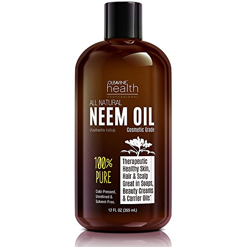 [Neem Oil Organic & Wild Crafted Pure Cold Pressed Unrefined Cosmetic Grade 12 oz for Skincare, Hair Care, and Natural Bug Repellent by Oleavine] (Neem Seed Oil)