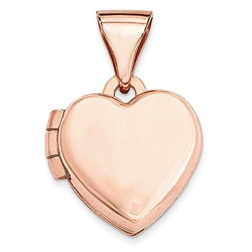 14k Rose Gold 10mm Plain Heart Locket Pendant by K&C
