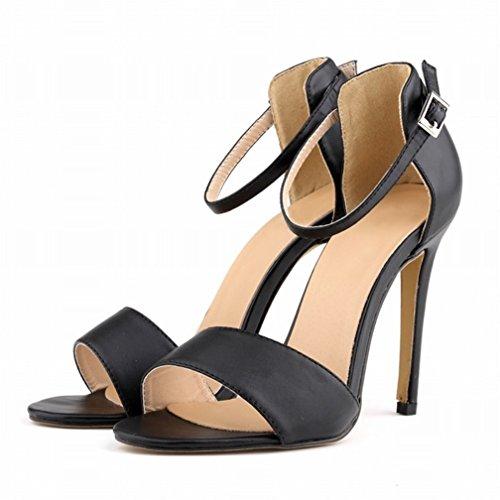 HooH Mujer Tacón alto Verano Sandalias Peep Toe Correa de tobillo Zapatos de tacón Sandalias Negro