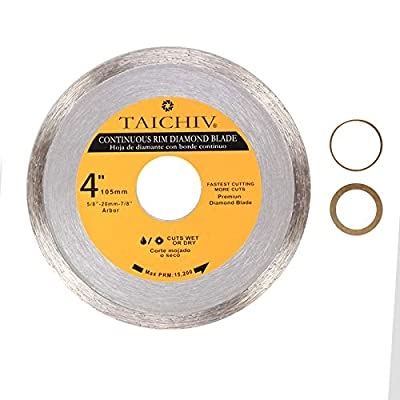 "TAICHIV High Performance 4"",4 1/2"",7"" Continuous Rim Diamond Blade For Smooth cutting of marble, granite, tile & ceramics Fits 7/8"",20mm,5/8"" Arbor Angle Grinders"