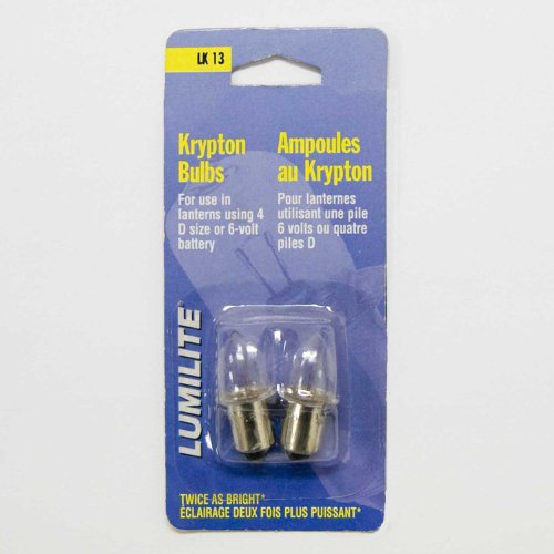 Lumilite LK13 Krypton 4.8V 0.75A Gas Flange Base Bulb for 6-Volt/4D Cell Flashlight, 2-Pack (4d Cell Flashlight)