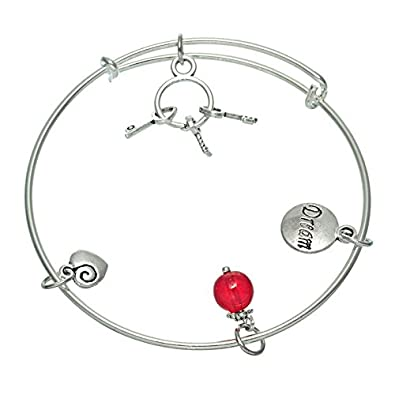 Sharefashion Silver-plated Colour Key Pendant Beads Peach Heart Bracelet Jewelry