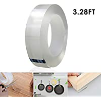 Traceless Washable Adhesive Tape, Womdee Removable Reusable Adhesive Silicone Tape Heavy Duty Double Sided Tape Clear Anti Slip Gel Nano Tape for Home, Wall, Paste Photos Fix Carpet(1M/3.28FT)