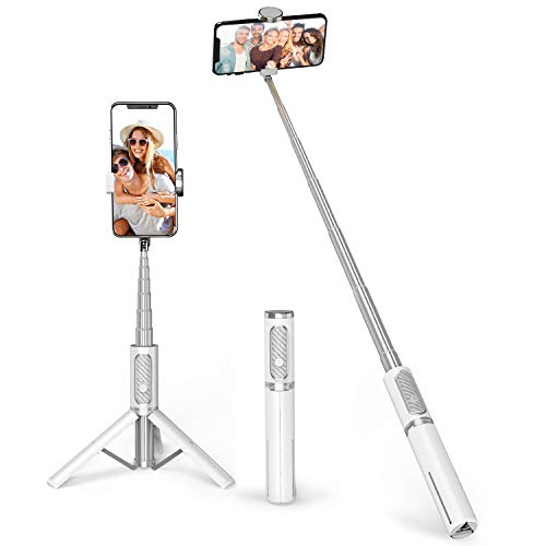 ATUMTEK Bluetooth Selfie Stick Tripod, Mini Extendable 3 in 1 Aluminum Selfie Stick with Wireless Remote and Tripod Stand 360 Rotation for iPhone 11/11 Pro/XS Max/XS/XR/X/8/7, Samsung and Smartphone
