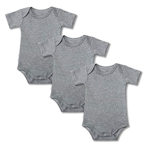GLEAMING GRAIN 3-Pack Short Sleeve Baby Bodysuit Infant Clothing 100% Cotton Blank Baby Onesie,(Grey,3M) ()