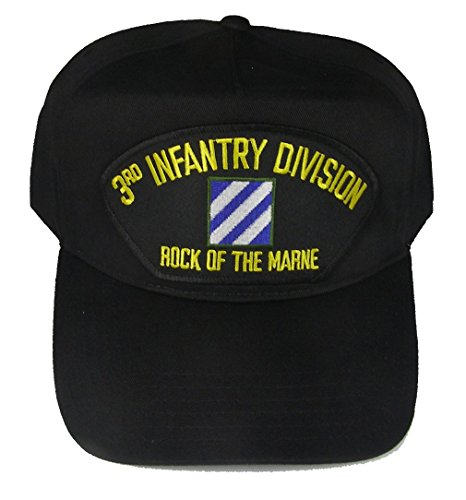 3rd INFANTRY DIVISION VETERAN HAT with ROCK OF THYE MARNE and 3RD ID crest cap - BLACK - Veteran Owned Business