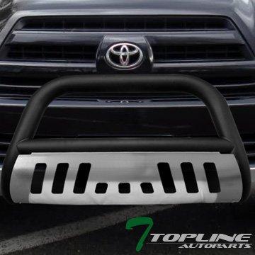 Topline Autopart Matte Black HD Heavyduty Bull Bar Brush Push Front Bumper Grill Grille Guard w/ Chrome Skin Plate 03-09 Toyota 4Runner / Lexus GX470