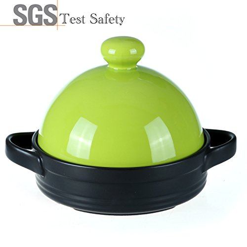 Tagine Ceramic Cookware,Healthy Dutch Oven Cooking Pot,Colorful 600 Degrees Crack Resistant Porcelain Soup Pots,Energy Saving Casserole Dish Stockpot,Hot Pot,Stew Pot(1-2/5Quarts,Green)