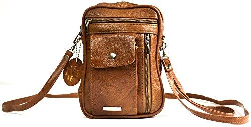 Snugrugs - Borsa a tracolla in vera pelle con tasche multiple con chiusure a zip e vani telefono/carte, colore: Moka/Rosso/Nero marrone