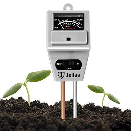 Jellas Soil pH Meter 3-in-1 Soil Moisture Meter Moisture Sensor Sunlight pH Soil Test Kits for Home and Garden, Indoor/Outdoor Plants - Silver