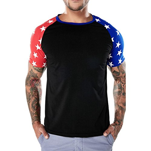 SPE969 T Shirt Top Blouse Fashion Personality Men's Casual Flag Slim Short (Stands Fashion T-shirt)