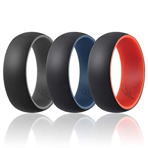 ROQ Silicone Wedding Ring for Men - Duo Collection Dome Style - 3 Pack Silicone Rubber Wedding Bands - Classic Design - Grey-Black, Blue-Black, Red-Black Colors - Size ()