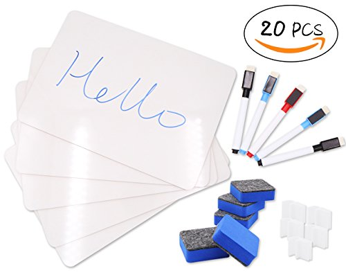 Dry Erase Lapboards Reusable, Durable, Portable Whiteboard Set with 5 Whiteboards,5 Pens,5 Felt Erasers and 5 Pen Holder by RinoDirect