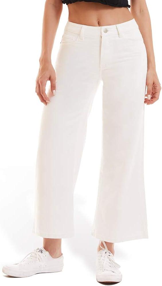 Nicasia Women's High-Rise Wide Leg Cropped Jean Denim Pants Casual Pocket Boyfriend Jeans