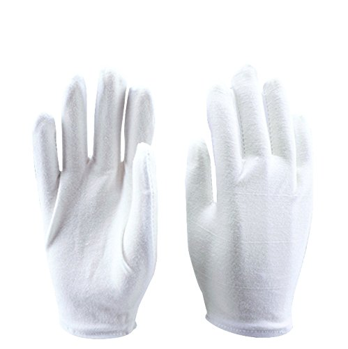 Sonnis 12 Pairs White Cotton Gloves for Cosmetic Moisturizing Coin Jewelry and Hand Spa Large Size by Sonnis (Image #2)