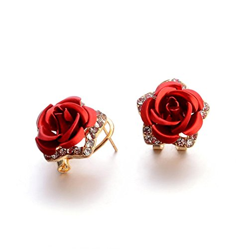 Rhinestone Earrings, Muranba Women Summer Bohemia Flower Rhinestone Earrings Fashion Jewelry (Red)