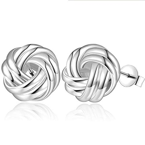 SDT Jewelry Platinum Plated Silver Love Knot Braided Simple Plain Stud Earrings (Silver)