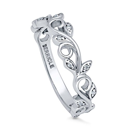 - BERRICLE Rhodium Plated Sterling Silver Cubic Zirconia CZ Leaf Filigree Fashion Right Hand Ring Size 9