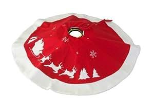 Brauns Heitmann 82650 - Manta para árbol de Navidad, 90 cm, color rojo y blanco