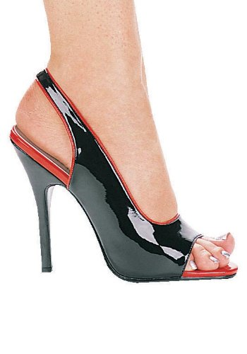 Womens 5 Inch Hak Two Tone Slingback Sandaal (zwart / Rood; 5)