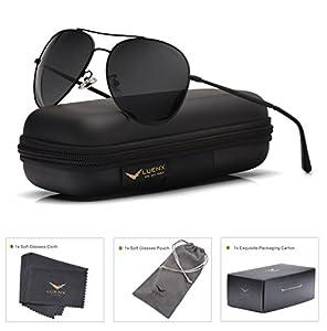 LUENX Aviator Sunglasses Polarized Men Women with Accessories Metal Frame UV 400 Driving Fashion 60MM