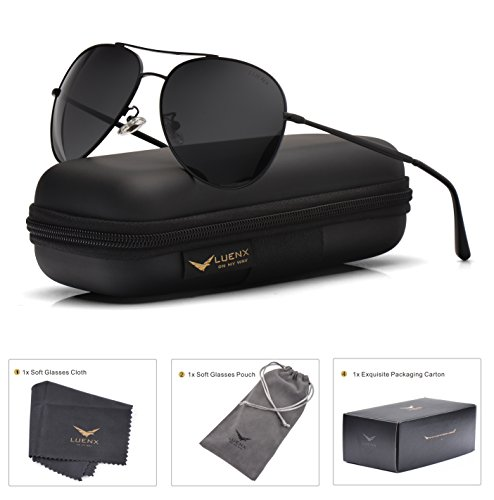 LUENX Aviator Sunglasses Men Women Non-Mirror Polarized UV400 Metal Frame 60MM (9-Black, 60) by LUENX