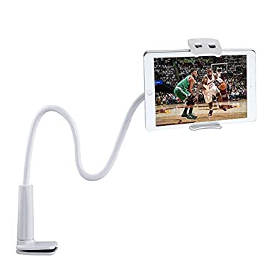 Tryone Gooseneck iPhone Holder/ iPad Stand/ Cellphone Stand/ Tablet Mount Holder, Bolt Clamp with Bracket for Apple or Android Devices 4-10.6 Inches, 360 Degree Rotating, 32 Inches Overall Length