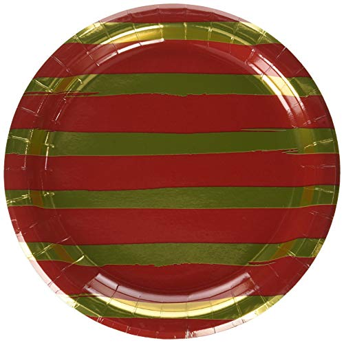 Creative Converting Party Supplies, Classic Red and Gold Foil Striped Paper Plates, Tableware, 9