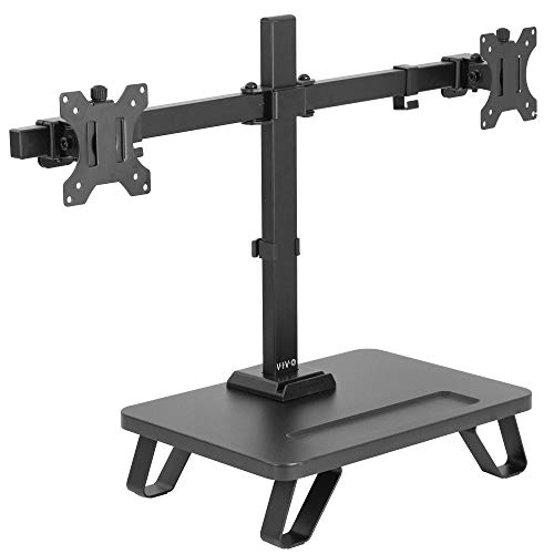 VIVO Black Freestanding Dual Monitor Stand for up to 27 inch Screens | Ergonomic Monitor Mount with 16 inch Wide Desktop Riser Storage Organizer Base | Fits VESA up to 100x100 (STAND-V102SF)