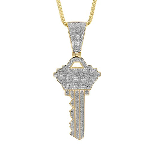 1.34ct Diamond Key Mens Hip Hop Pendant Necklace in Yellow Gold Over 925 Silver (H-I, I1-I2) by Isha Luxe-Hip Hop Bling