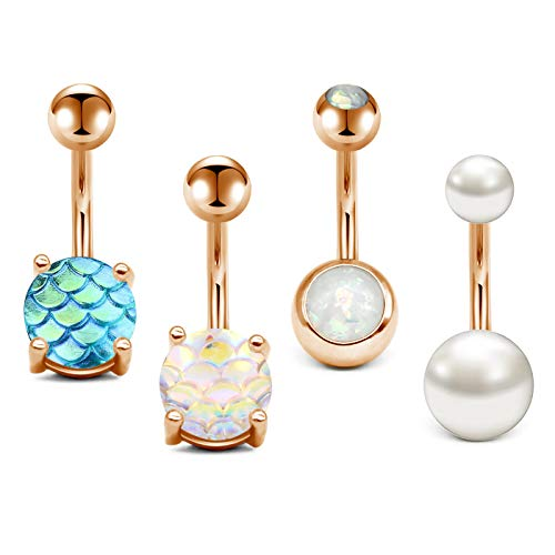 JFORYOU 14G Stainless Steel Belly Button Rings for Women Girls Navel Rings Mermaid Fish Scale Faux Opal Pearl Body Piercing
