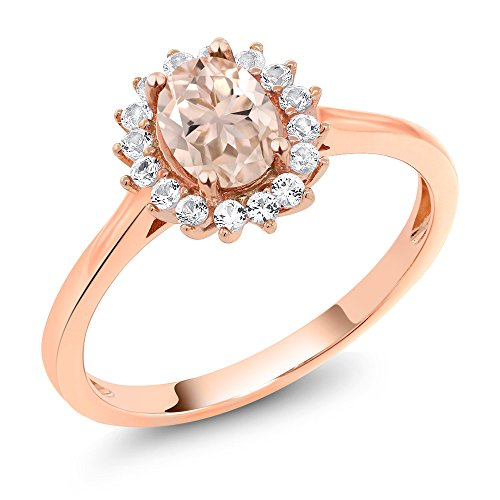 - Gem Stone King 0.89 Ct Oval Peach Morganite White Created Sapphire 10K Rose Gold Ring (Size 5)