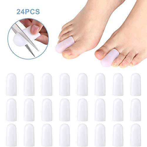 24 Pieces Gel Toe Cap Silicone Toe Protector Small Size Toe Guards for Cushions Corns, Blisters, Calluses, Ingrown Toenails, Toes and Fingers (Silicone Toe Cap, 24 Pieces)