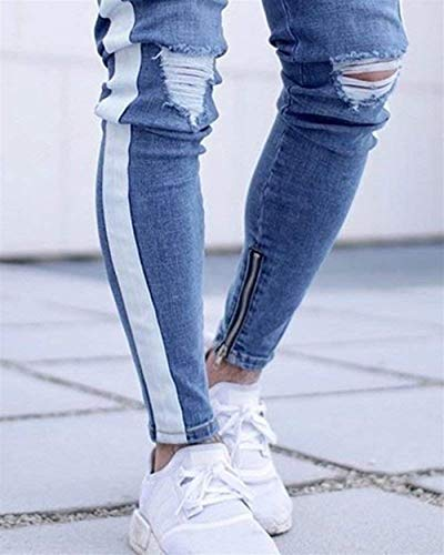 Stretch Uomo Pantaloni Skinny Hellblau Giovane Distrutti Strappati Biker Da Denim Casual Matita A Fashion Saoye Jeans wIP5q1vwT