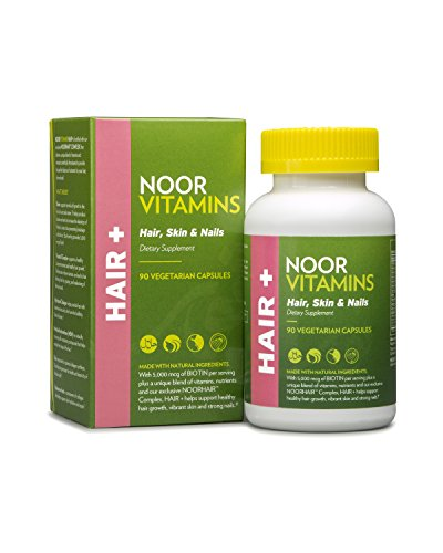 NoorVitamins HAIR, SKIN & NAILS Vitamin Supplement with BIOTIN ZINC Vitamin C B & NOORHAIR(TM) Complex - 90 Count - Halal Vitamins (1)