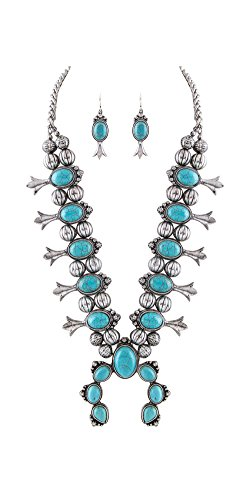 (Jayde N' Grey Navajo Southwestern Squash Blossom Tribal Turquoise Necklace (Turquoise Silver Large) )