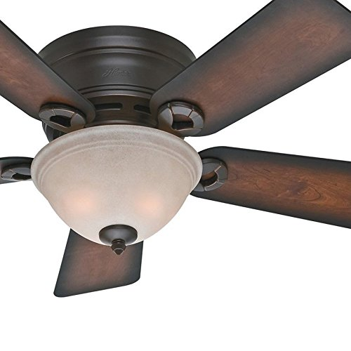 Hunter Fan 42 inch Low Profile Ceiling Fan in Snow White with Light Kit, 5 Blade (Renewed) (Onyx Bengal) ()