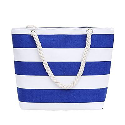 c70f58dd45 low-cost ABage Women s Striped Beach Tote Canvas Travel Handbag Purse  Shopper Shoulder Bag
