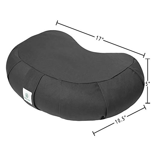 Incline Fit Zafu Yoga Meditation Cushion with Zipper, Round Meditation Pillow Bolster Filled with Buckwheat Hulls with Machine Washable Cotton Cover and Carry Handle, Crescent, Onyx