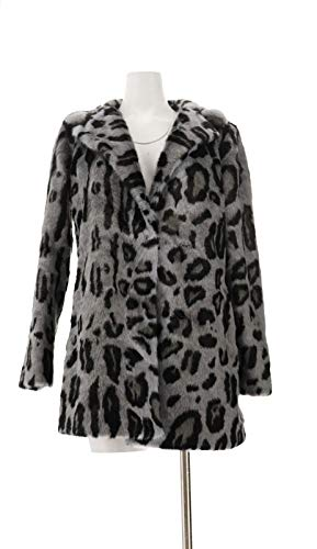 Dennis Basso Printed Faux Fur Jacket Notched Lapel Grey Lynx XS New A311302