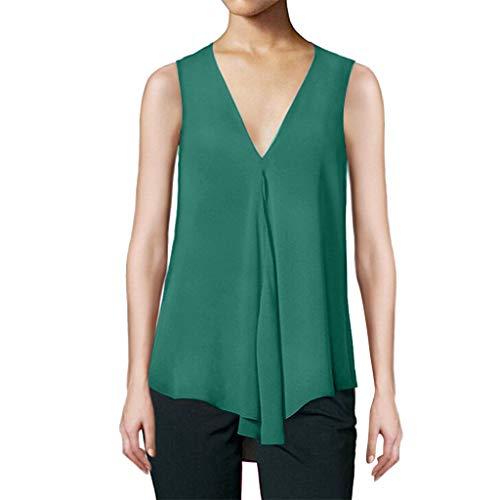 iBOXO Sexy Deep V-Neck Loose Sleeveless Chiffon Tank Tops Summer Casual Solid Color Top(Green,M)