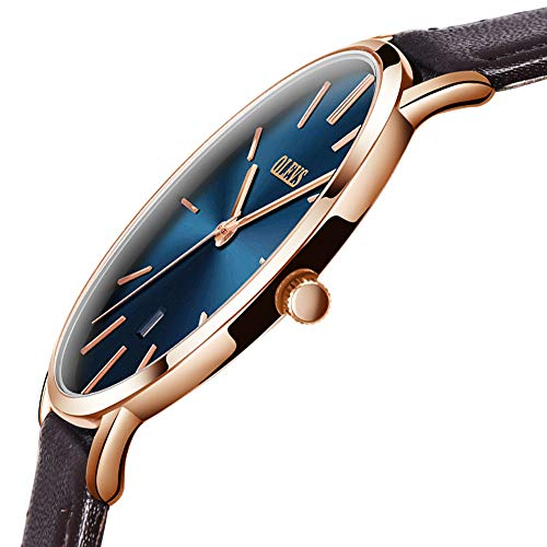 Ultra Thin Watches for Men,Rose Gold Face Watch,Blue Dial Analog Wrist Watches,OLEVS Brown Leather Watches 30M Waterproof Leather Watch for Men,Leather Gift Watch for Men,Business Wrist Watch for Men