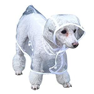 Topsung Waterproof Puppy Raincoat White Transparent Pet Rainwear Clothes for Small Dogs/Cats, Size M