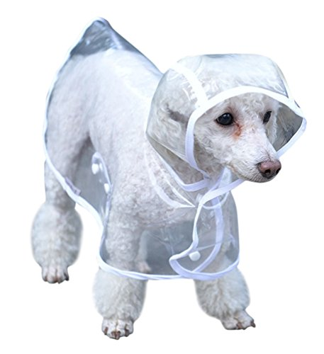 Topsung Waterproof Puppy Raincoat White Transparent Pet Rainwear Clothes for Small Dogs/Cats, Size M -