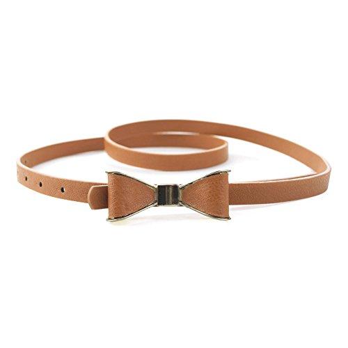 TopTie Women Skinny Waist Belt, Cute Bow Buckle Belt-Camel